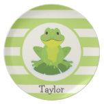 Cute Green Frog on Striped Pattern Melamine Plate
