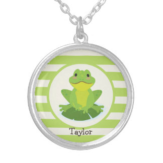 Cute Green Frog on Striped Pattern Round Pendant Necklace
