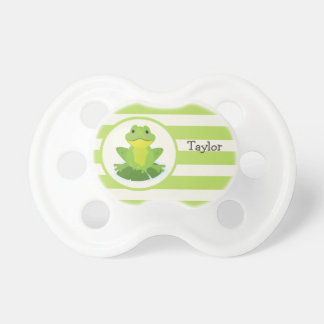 Cute Green Frog on Striped Pattern Pacifier