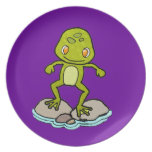 Cute green frog party plate