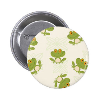 Cute Green Frog Pattern Button