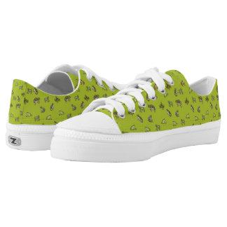Cute Green Frog Pattern Low-Top Sneakers