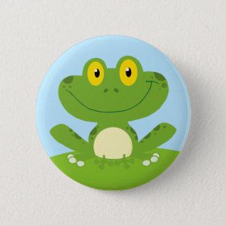 Cute Green Frog Pinback Button