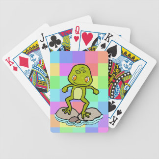 Cute green frog bicycle playing cards