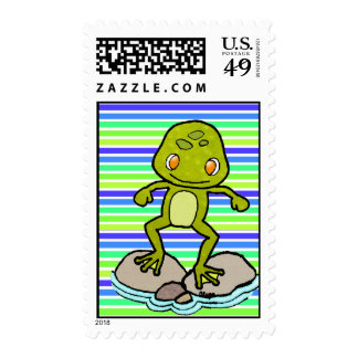 Cute green frog stamp