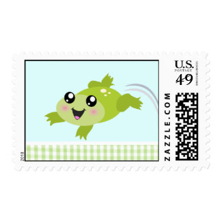 Cute green frog postage stamp