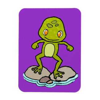 Cute green frog rectangular photo magnet