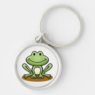 Cute Green Frog Silver-Colored Round Keychain