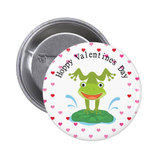 Cute Green Frog Valentine's Day Pinback Button