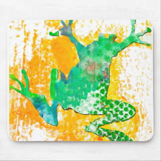 Cute Green Frog Watercolor Mouse Pad