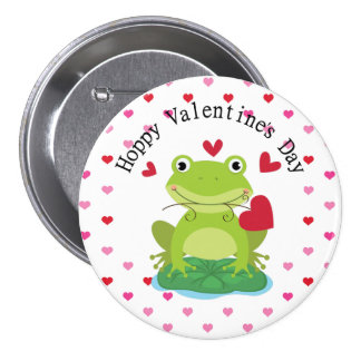Cute Green Frog with Hearts Pinback Button