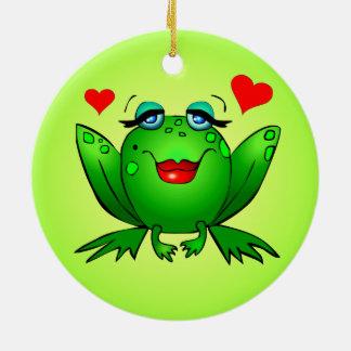 Cute Green Frogs Love Hearts Ornament