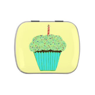 Cute Green Frosting Chocolate Cupcake Jelly Belly Tin