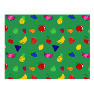 Cute green fruits pattern postcard