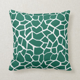 Cute Green Giraffe Animal Print Throw Pillow