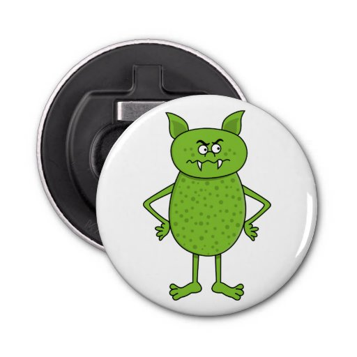 Cute Green Goblin Cartoon Button Bottle Opener Zazzle