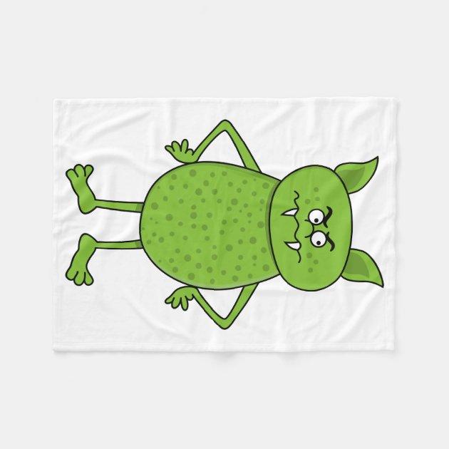 cute green goblin cartoon fleece blanket zazzle