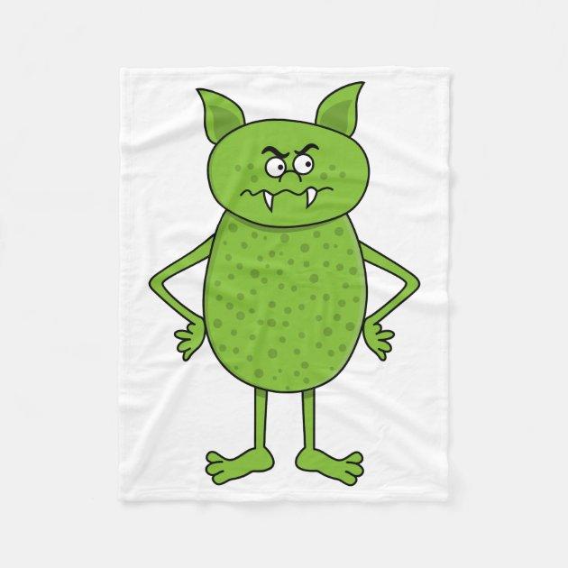 cute green goblin cartoon fleece blanket zazzlecom