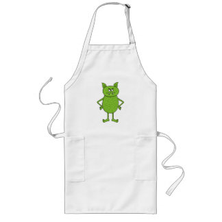 Cute green goblin cartoon long apron