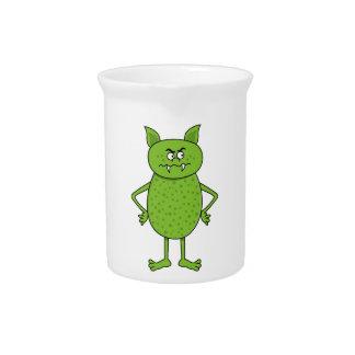 Cute green goblin cartoon pitcher