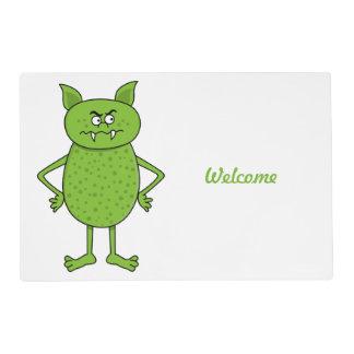 Cute green goblin cartoon placemat