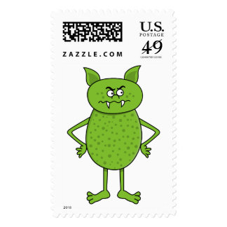 Cute green goblin cartoon postage