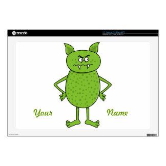 """Cute green goblin cartoon 17"""" laptop decals"""