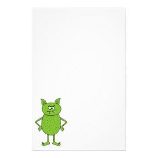 Cute green goblin cartoon stationery