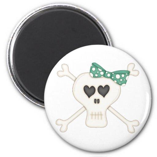 Cute Green Goth Crossbones 2 Inch Round Magnet
