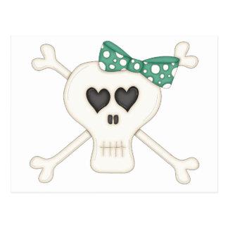 Cute Green Goth Crossbones Post Cards
