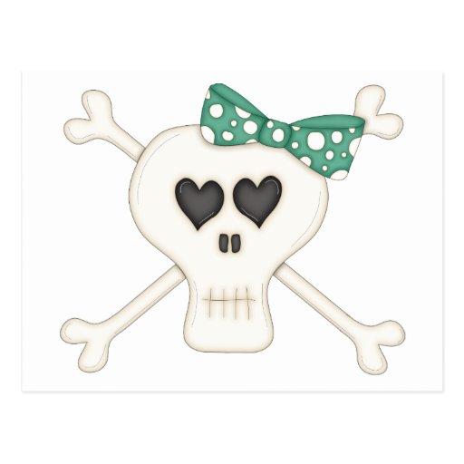 Cute Green Goth Crossbones Postcard