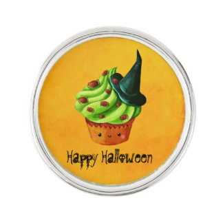 Cute Green Halloween Cupcake Lapel Pin