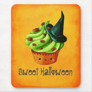 Cute Green Halloween Cupcake Mouse Pad