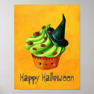 Cute Green Halloween Cupcake Poster