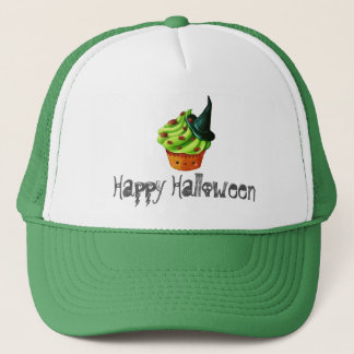 Cute Green Halloween Cupcake Trucker Hat