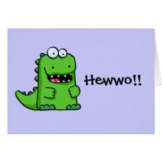 Cute Green Happy Dinosaur Greeting Card