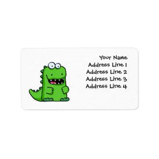 Cute Green Happy Dinosaur Address Label