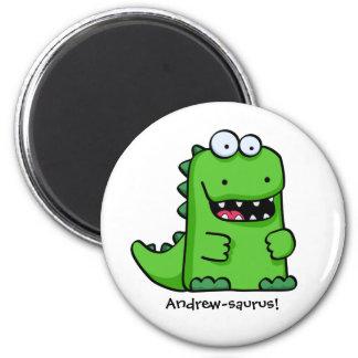 Cute Green Happy Dinosaur Magnet