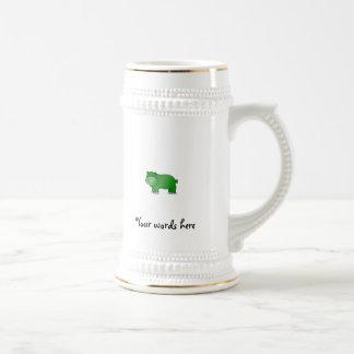 Cute green hippo 18 oz beer stein