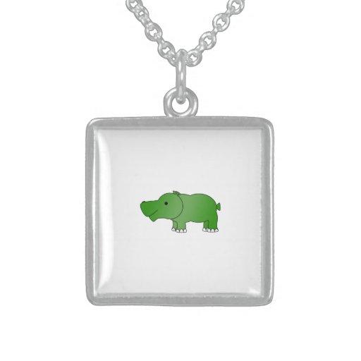 Cute green hippo square pendant necklace