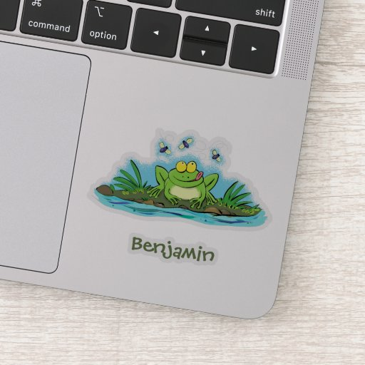 Cute green hungry frog cartoon illustration sticker