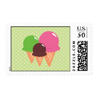 Cute Green Ice Cream Cone Postage Stamps