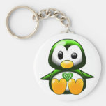 Cute Green Irish Penguin Cartoon with Celtic Knot Basic Round Button Keychain