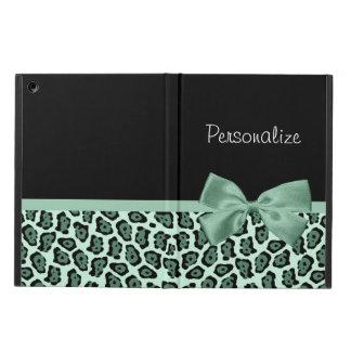 Cute Green Jaguar Print Girly Jade Bow and Name iPad Air Case