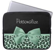 Cute Green Jaguar Print Girly Jade Bow and Name Laptop Sleeve