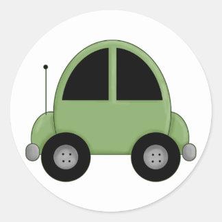 Cute Green Kids Car Classic Round Sticker