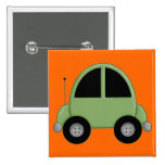 Cute Green Kids Car Pinback Button