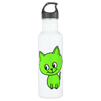 Cute Green Kitten. Stainless Steel Water Bottle