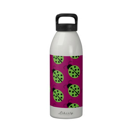 Cute Green Lady Bugs On A Bright Purple Background Water Bottles