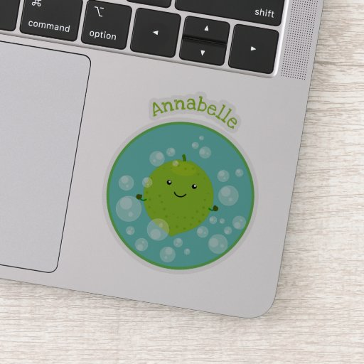 Cute green lime bubbles cartoon illustration sticker